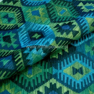ETNO BOHO. Welurowy kilim Aztek 5 EASY TO CLEAN turkus